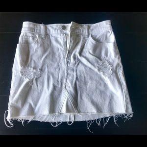 Hollister, white jean skirt.